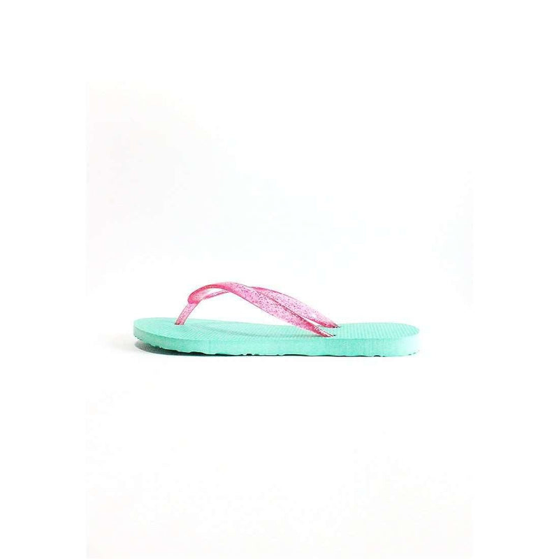 Pink N' Proper:BASIC Baia Baia Milky Green Flip-Flops with Virtual Pink Glitter Straps