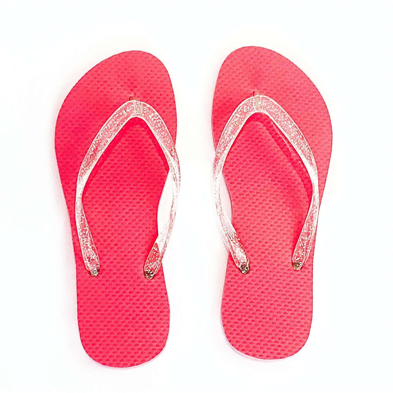 Pink N' Proper:BASIC Baia Baia Virtual Pink Flip-Flops with Transparent Glitter Straps