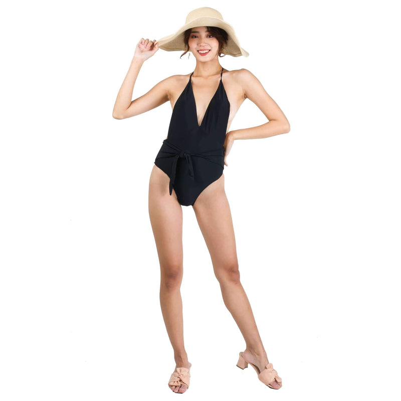 Pink N' Proper:Basic Plunge Halter Tie-Front Swimsuit in Black