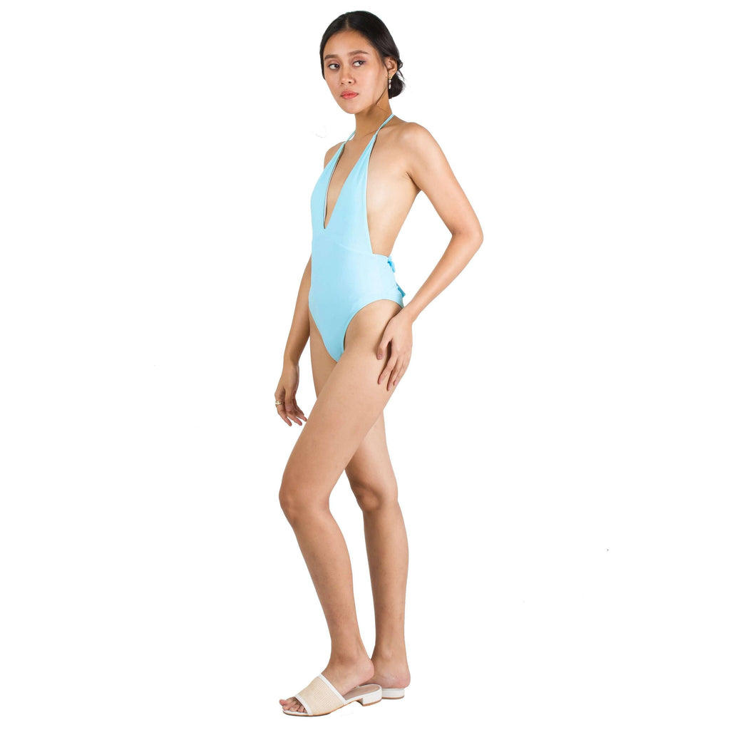 Pink N' Proper:Basic Plunge Halter Tie-Front Swimsuit in Blue