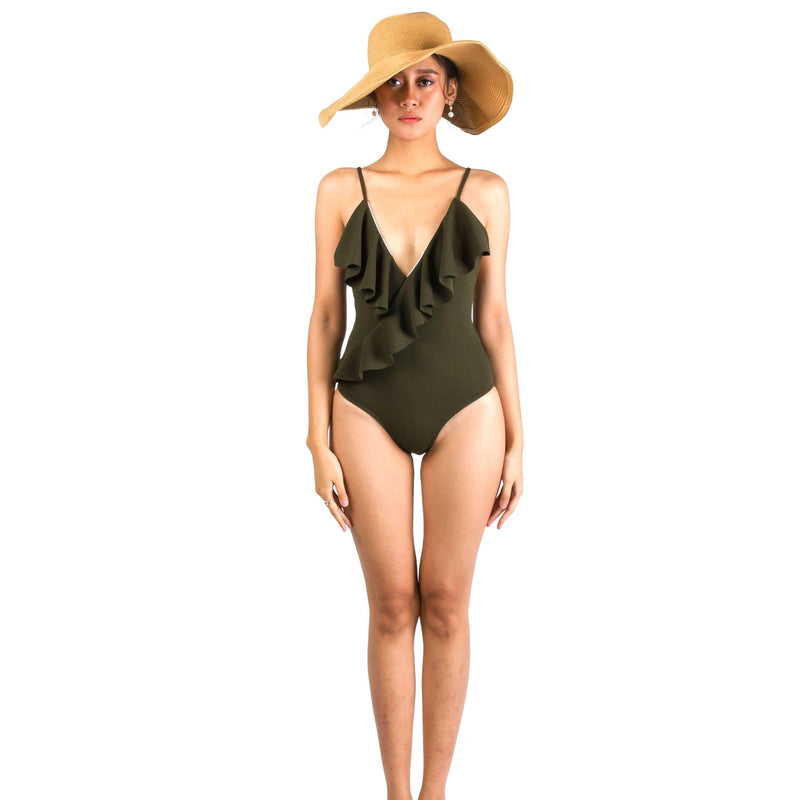 Pink N' Proper:Basic Ruffle V Neck Swimsuit in Army Green