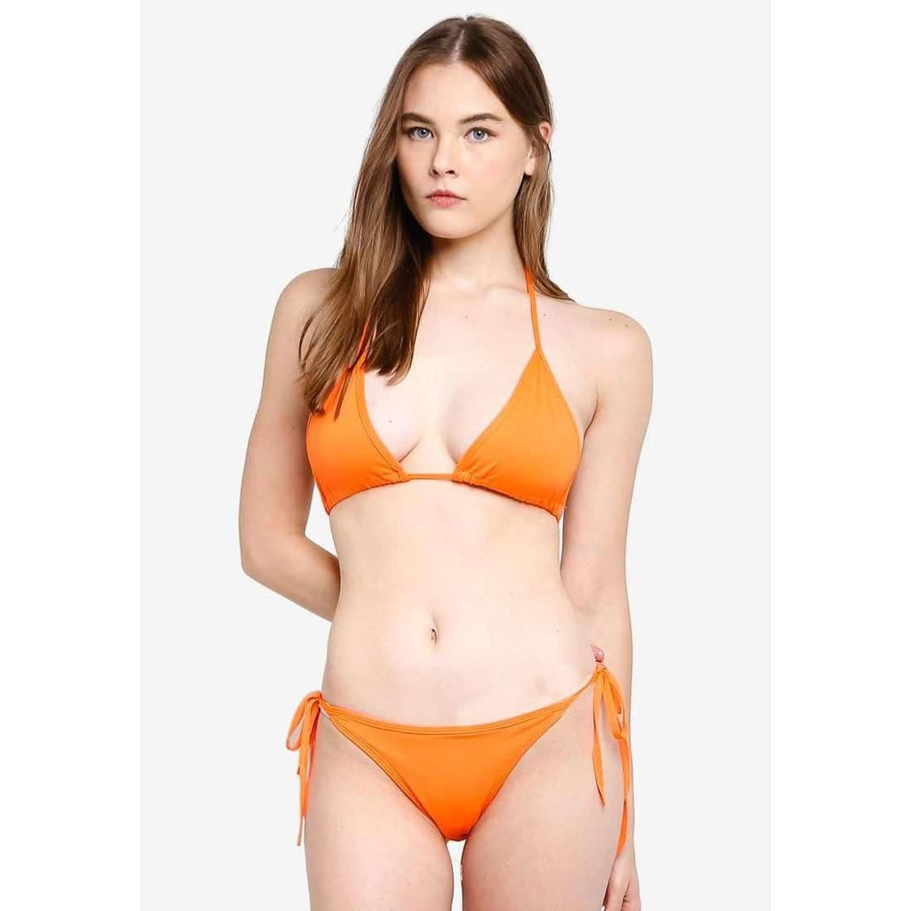 Pink N' Proper:Basic Triangle Bikini Set Neon Orange