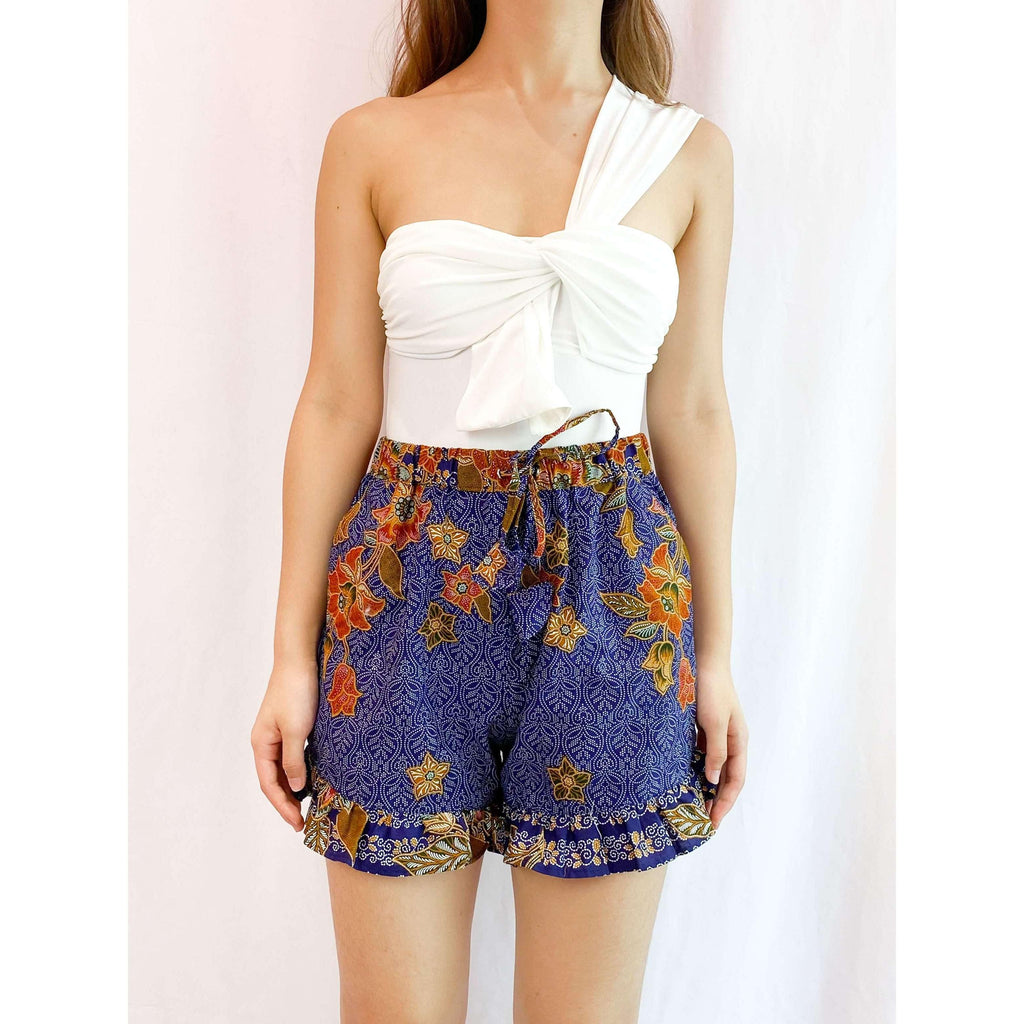 Pink N' Proper:Batik Frou Shorts in Blue