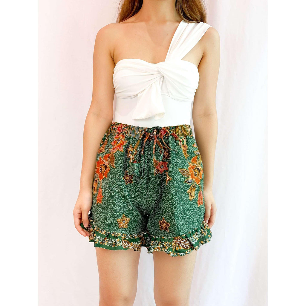 Pink N' Proper:Batik Frou Shorts in Green