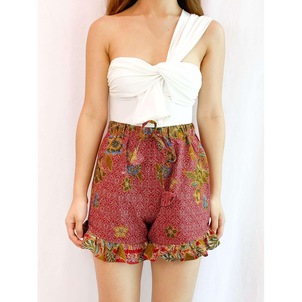Pink N' Proper:Batik Frou Shorts in Red