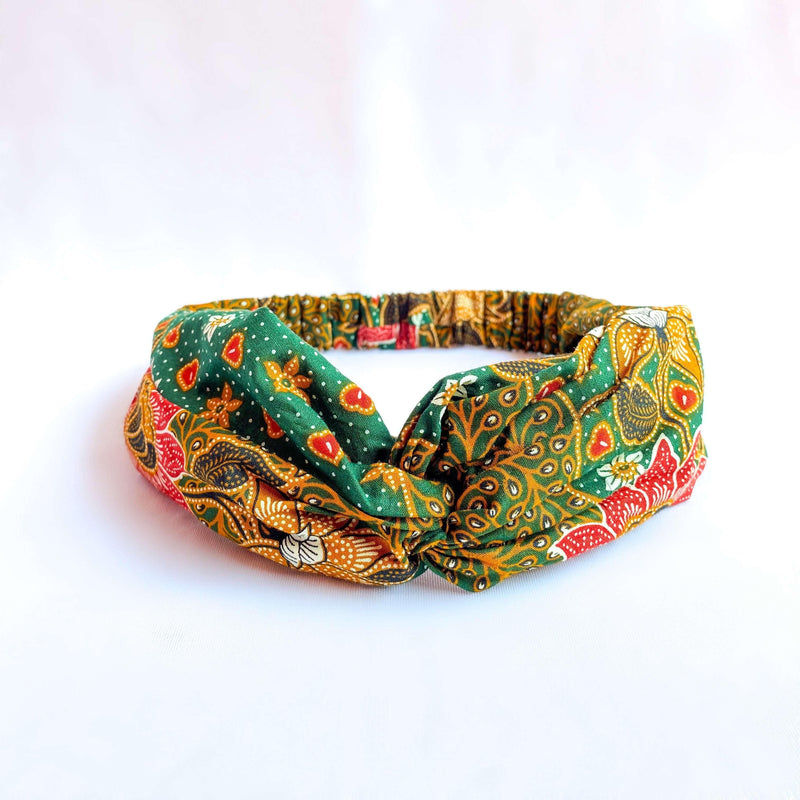 Pink N' Proper:Batik Headband in Green