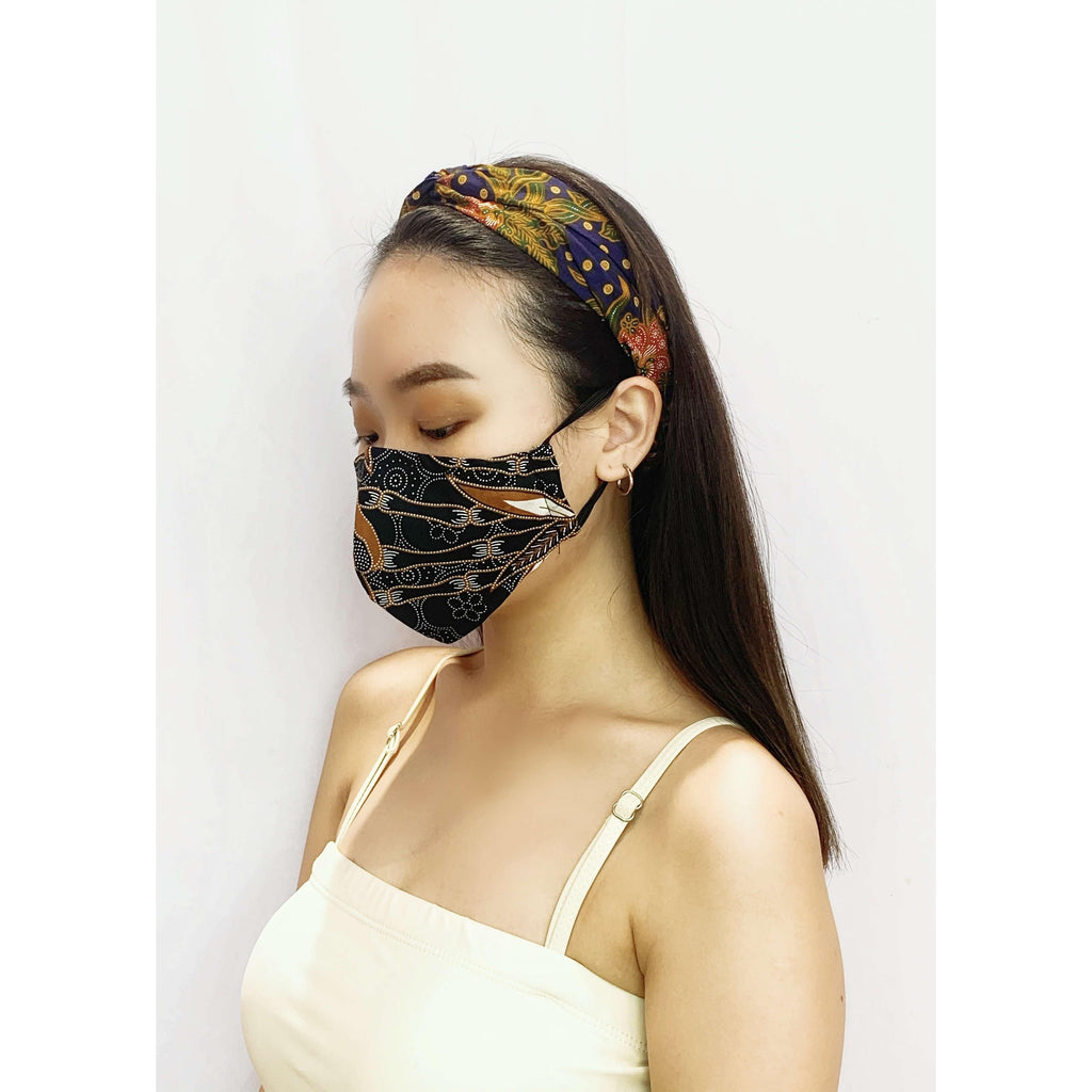 Pink N' Proper:Batik Reusable Face Mask in Black
