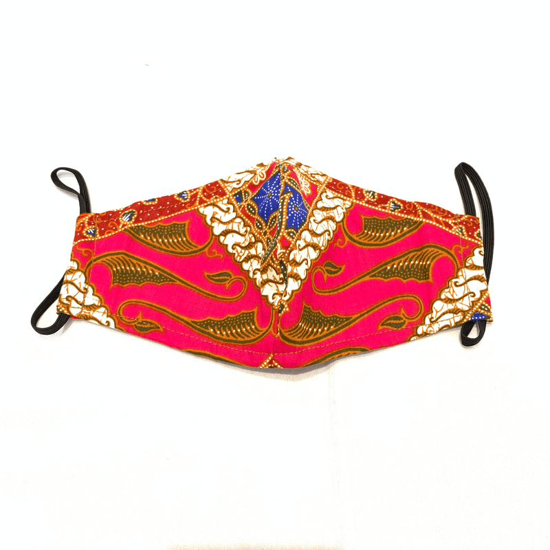 Pink N' Proper:Batik Reusable/Refillable Face Mask in Fuchsia