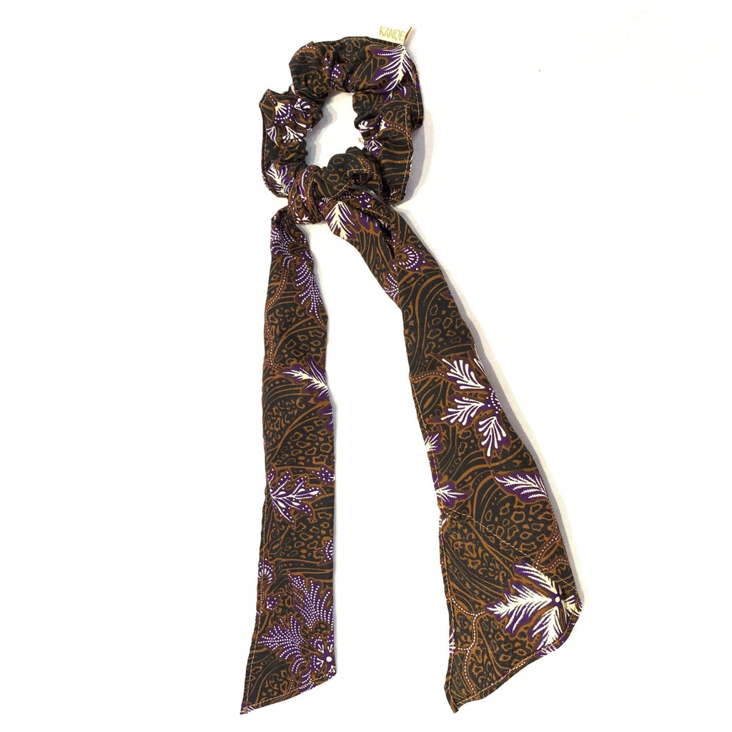Pink N' Proper:Batik Scrunchie with Ribbon in Brown