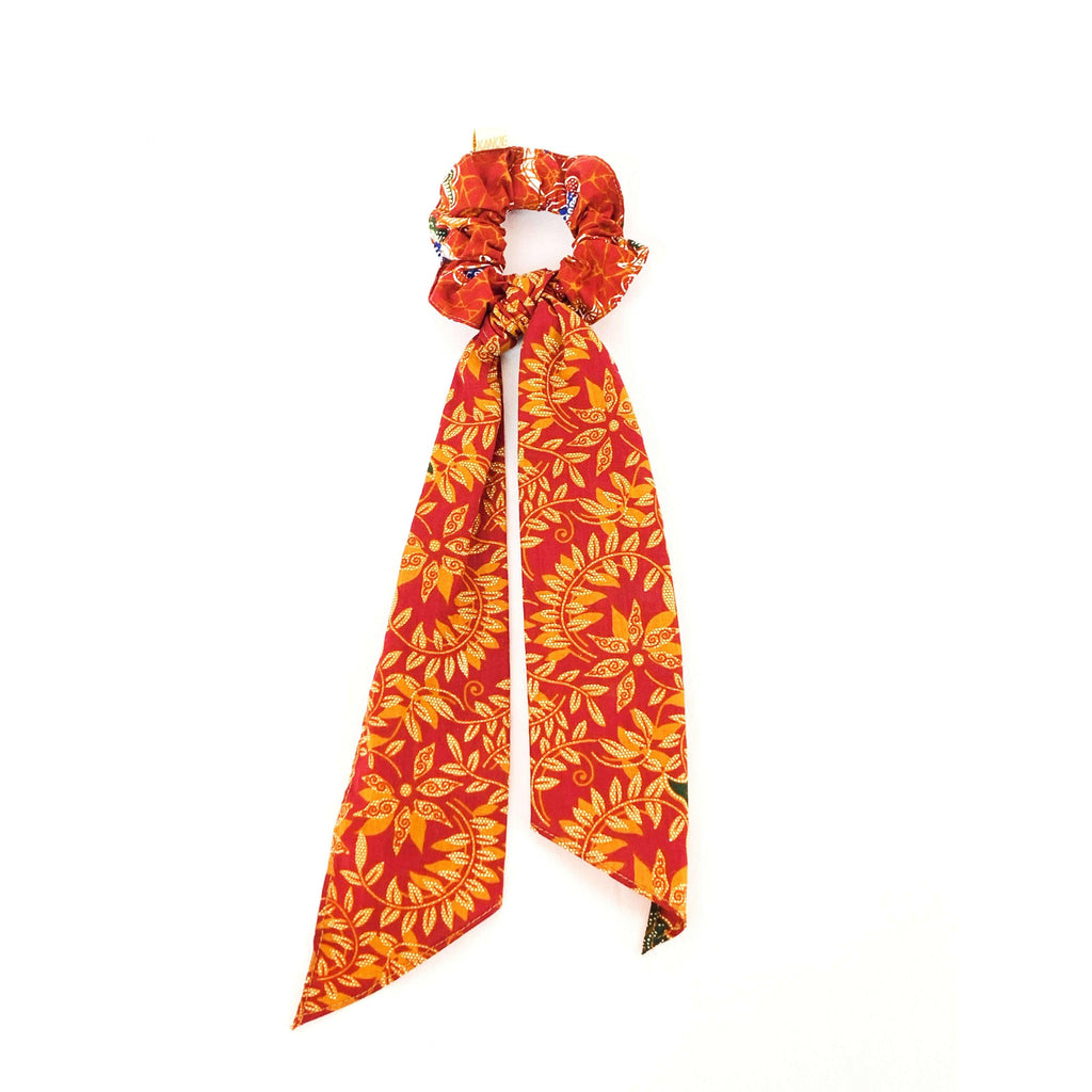 Pink N' Proper:Batik Scrunchie with Ribbon in Burnt Orange