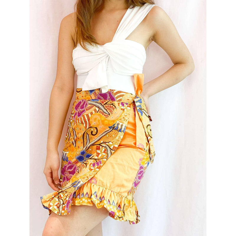 Pink N' Proper:Batik Wrap Skirt in Orange