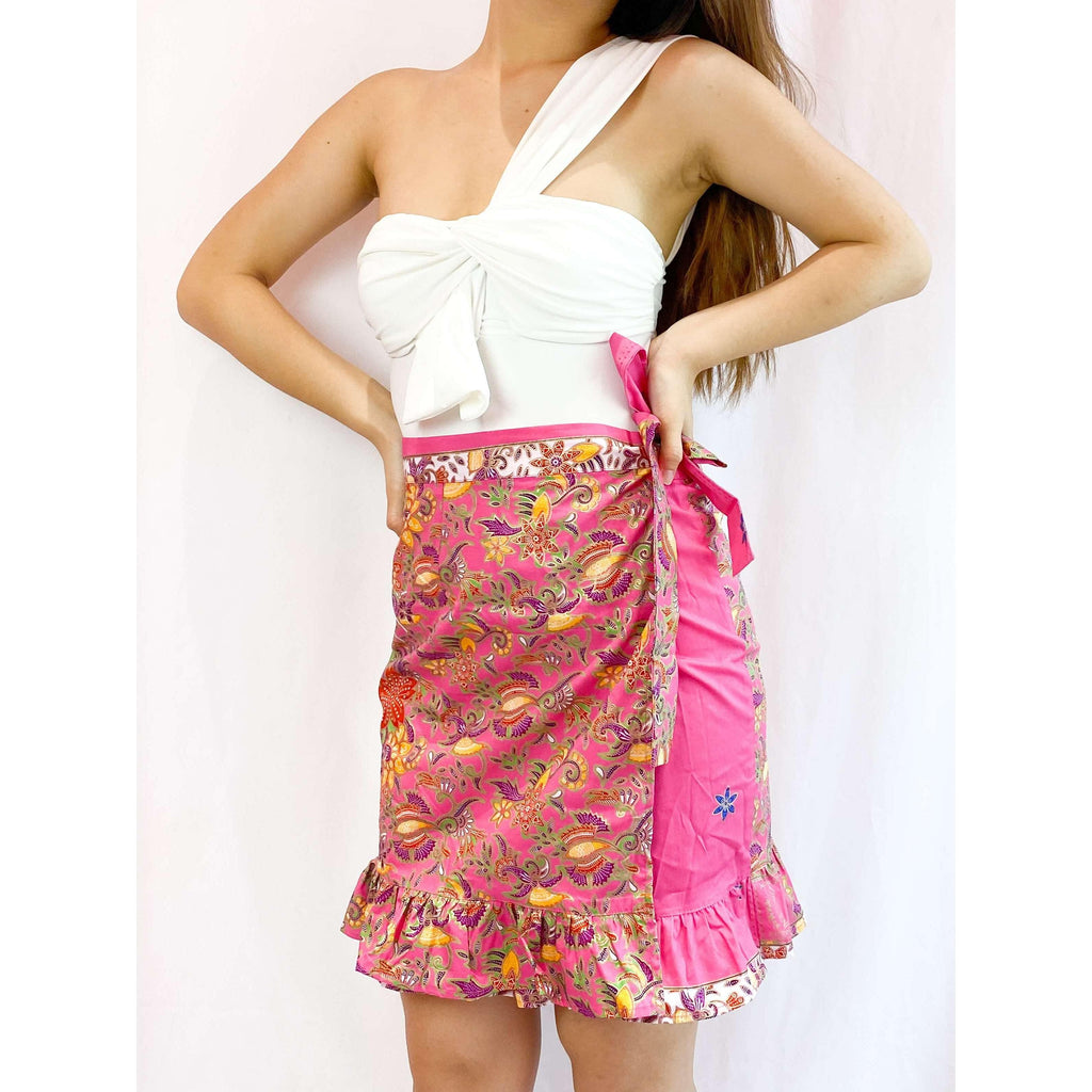 Pink N' Proper:Batik Wrap Skirt in Pink