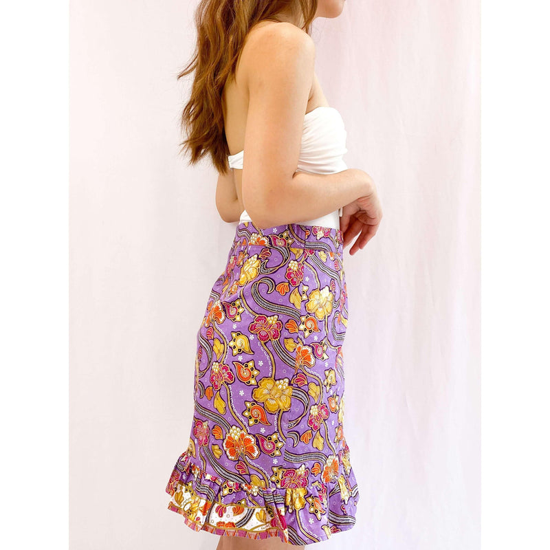 Pink N' Proper:Batik Wrap Skirt in Purple