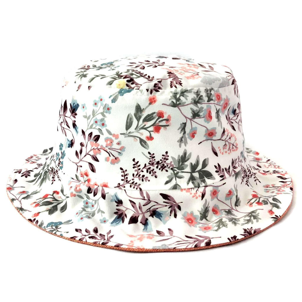 Pink N' Proper:Bucket Hat in White Floral