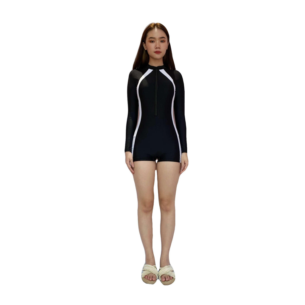 Pink N' Proper:Cho Two-piece Underwire Long Sleeve Bodysuit Rash Guard in Black