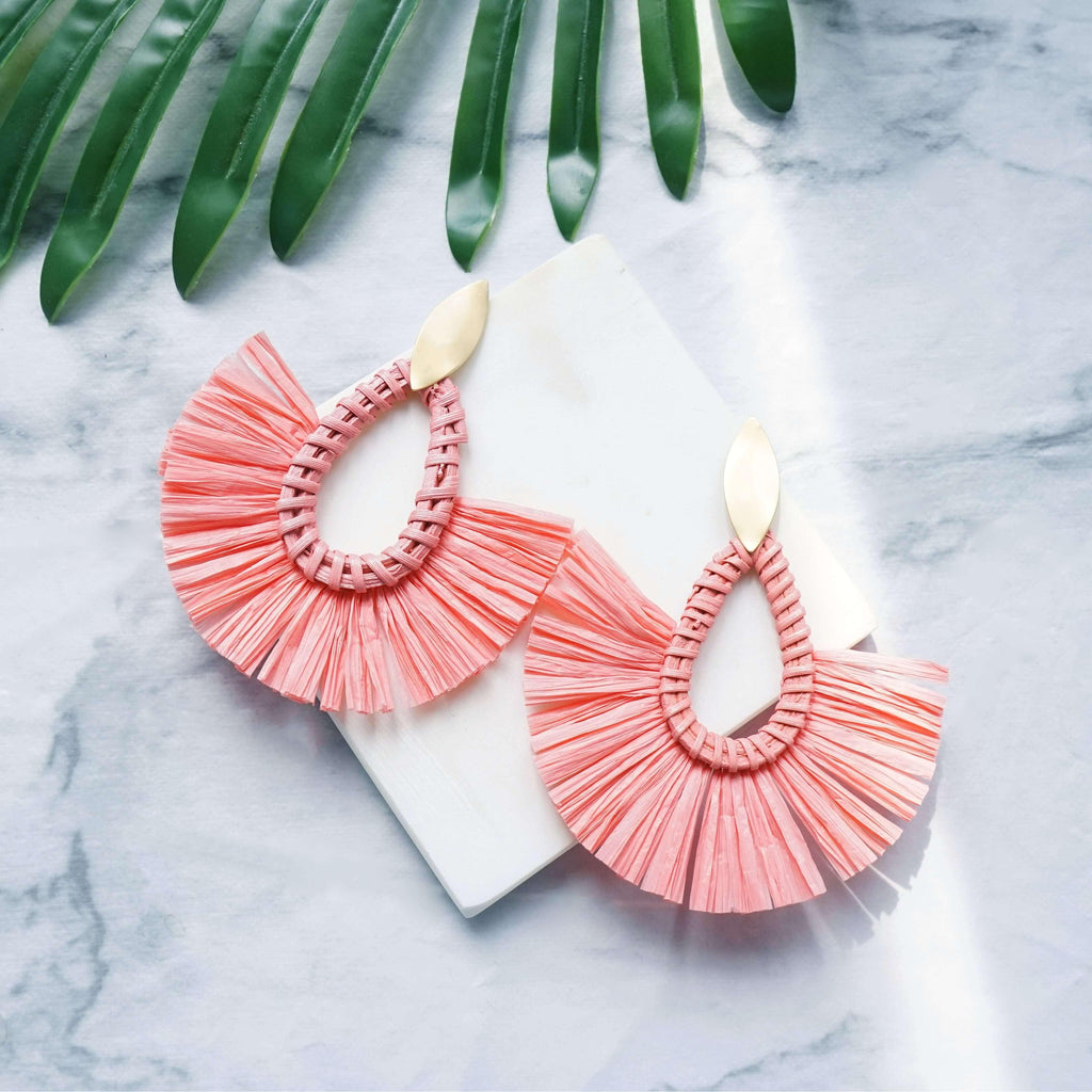 Pink N' Proper:Coral Rattan Earrings