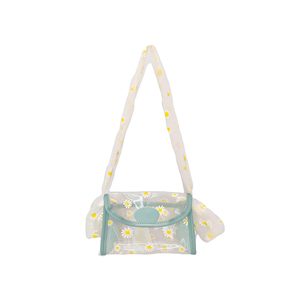 Pink N' Proper:Daisy Clear Mesh Handle Handbag in Sky Blue