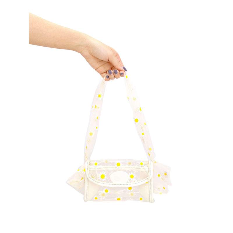 Pink N' Proper:Daisy Clear Mesh Handle Handbag in White
