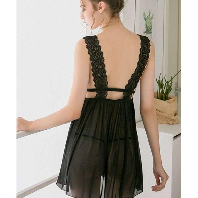 Pink N' Proper:Ellayne Plunge Neck and Bare Back Chemise Black