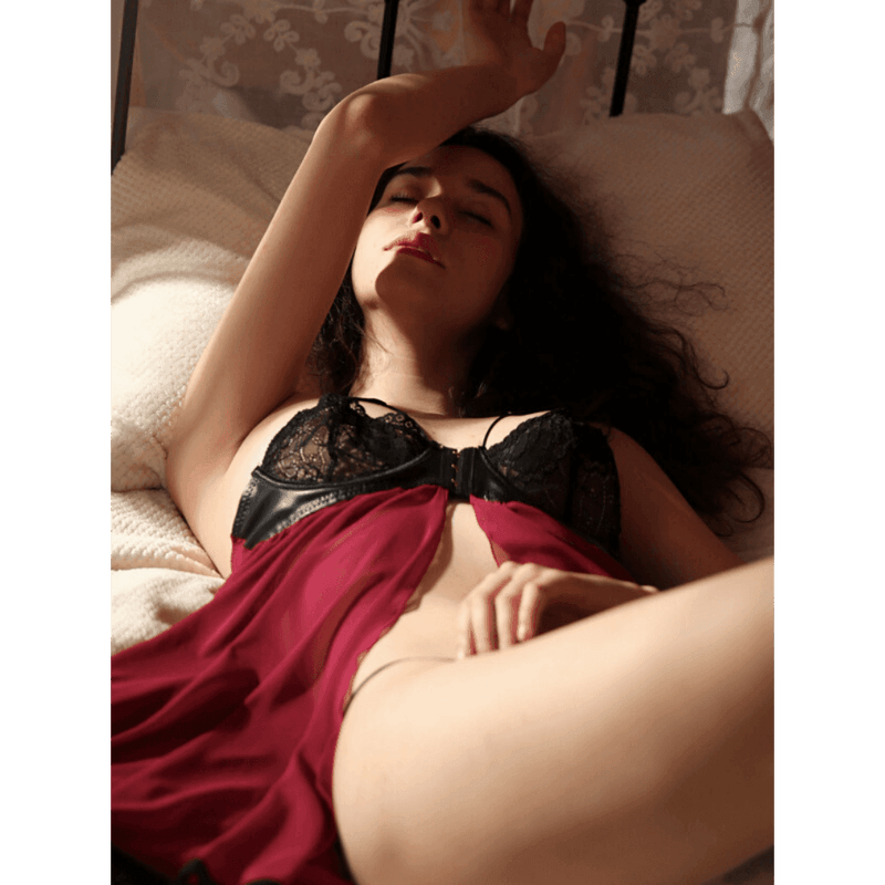 Pink N' Proper:Fleurine Wired Babydoll Wine Red
