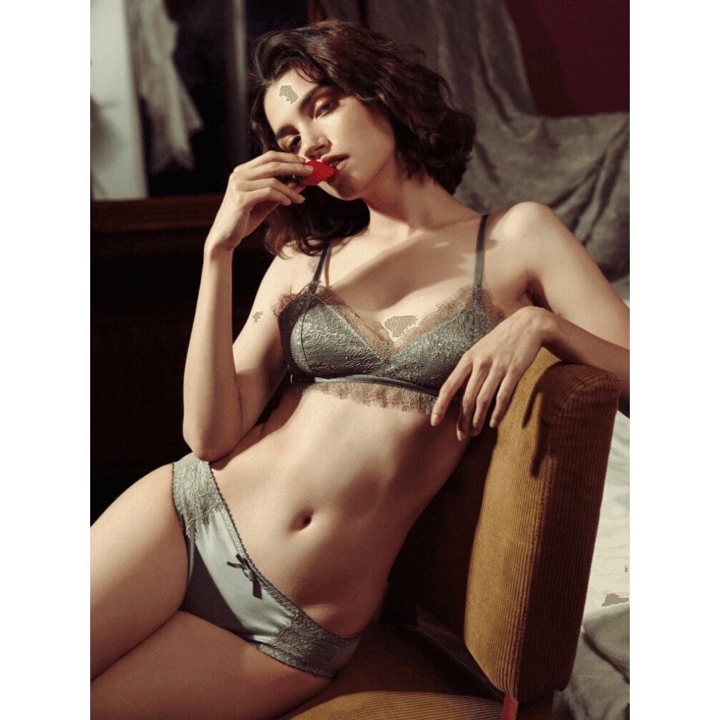 Pink N' Proper:Florentine Luxe Satin Bralette and Panty Jade Green