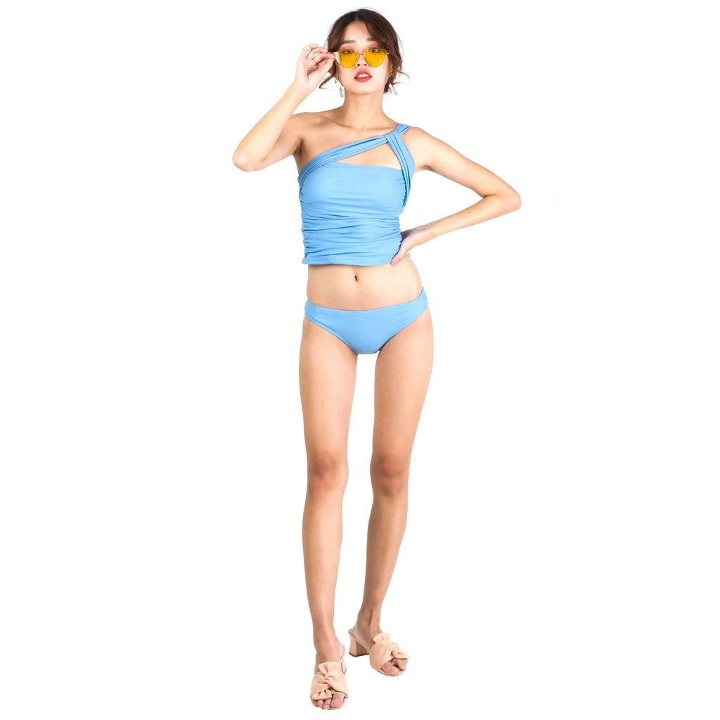 Pink N' Proper:Hyo Toga One-Shoulder Tankini Set in Blue