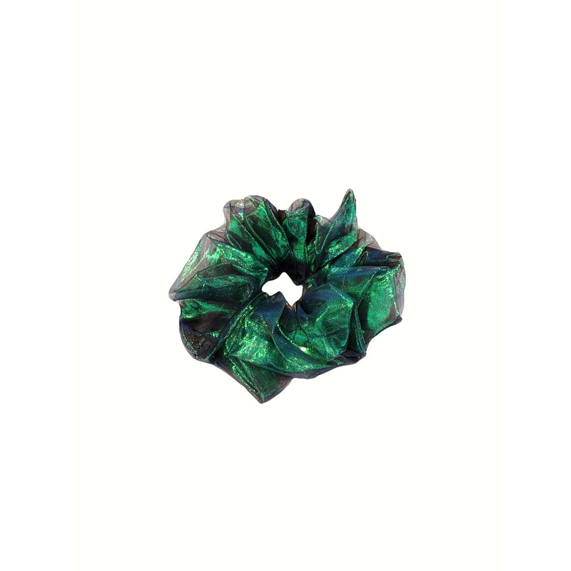 Pink N' Proper:Jumbo Mesh Iridescent Scrunchie in Green