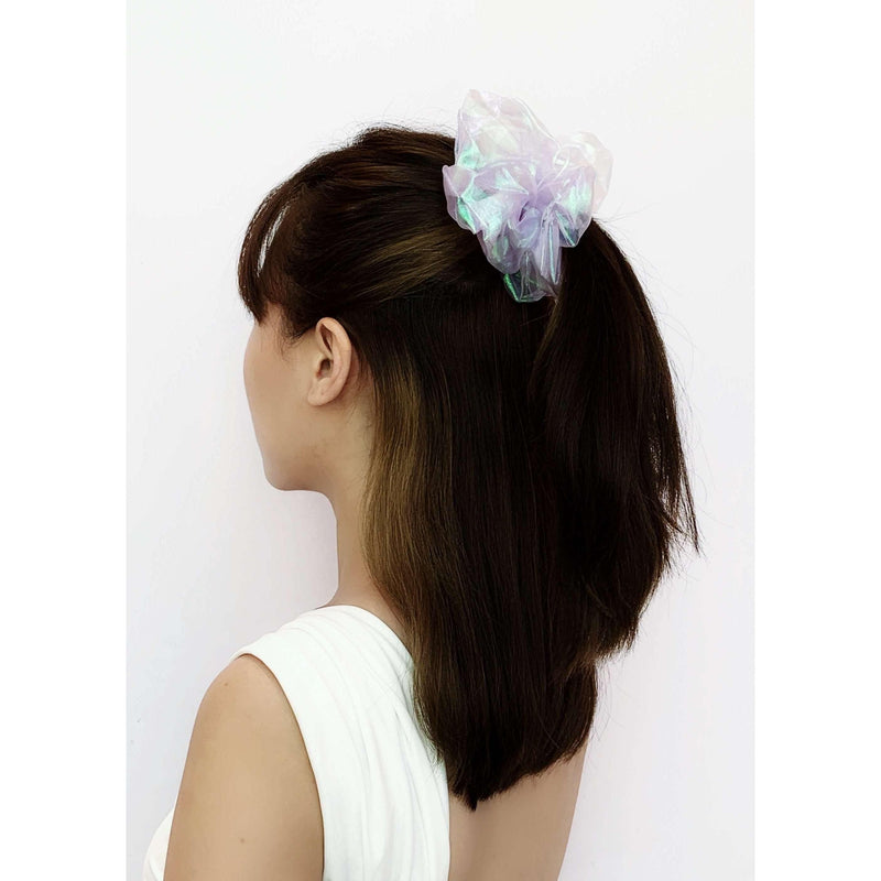 Pink N' Proper:Jumbo Mesh Iridescent Scrunchie in Purple