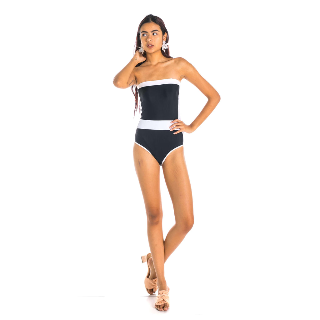 Pink N' Proper:Maximoff Straight Cut Retro Swimwear in Black