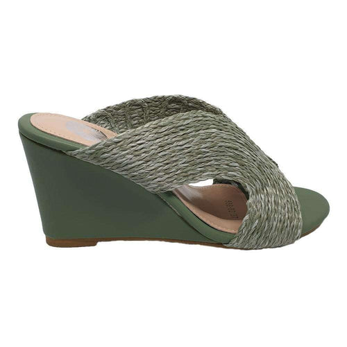 Pink N' Proper:MAYA GREEN WEDGES SYNTHETIC