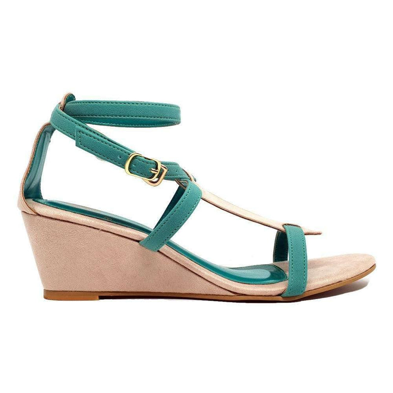 Pink N' Proper:MIKI GREEN WEDGE SYNTHETIC