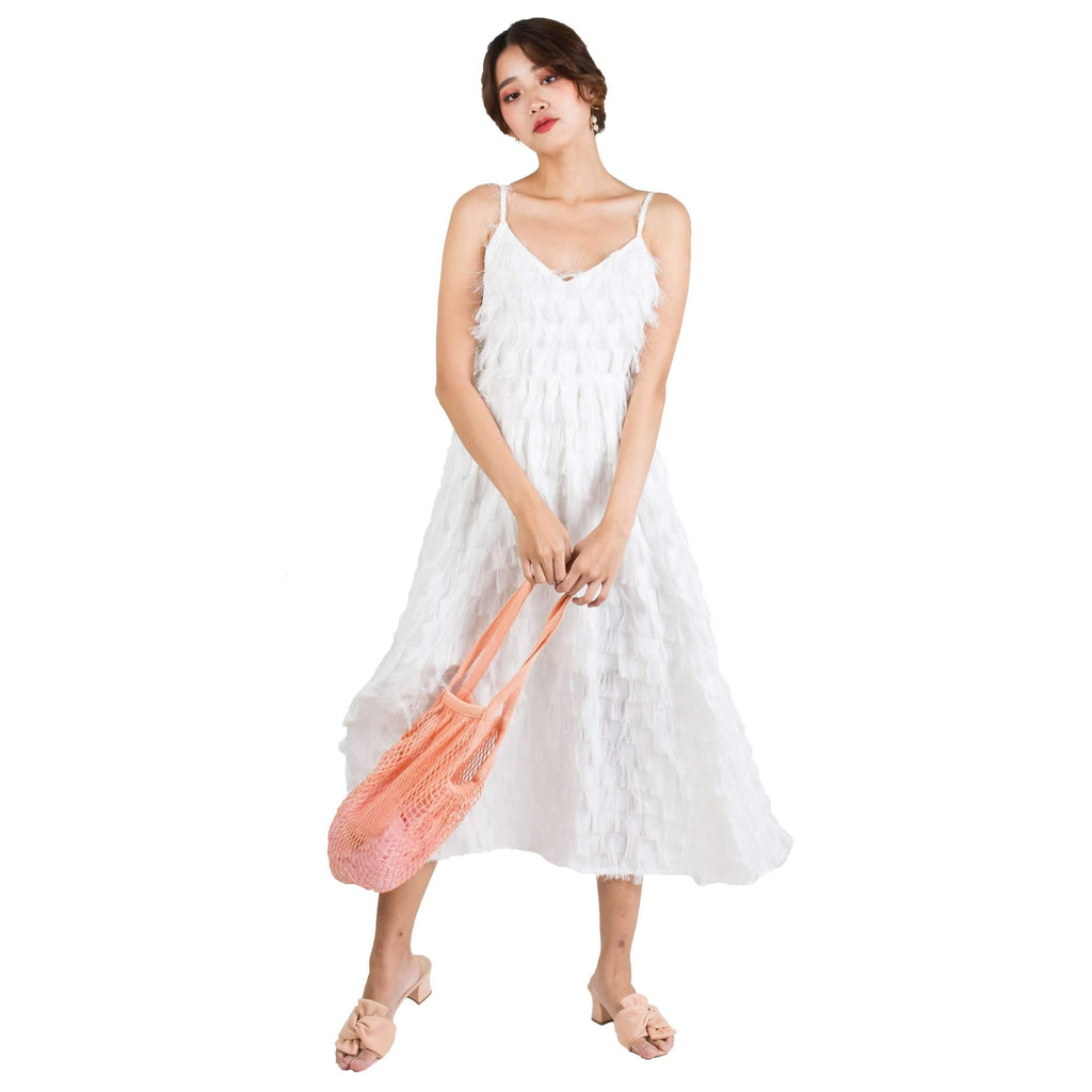 Pink N' Proper:Olivia Bareback Feather Summer Dress