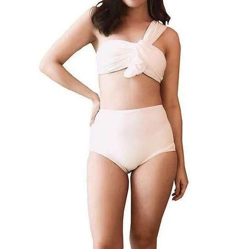 Pink N' Proper:Phylonoe Toga Bandeau Retro High-Waist Bikini Set in White