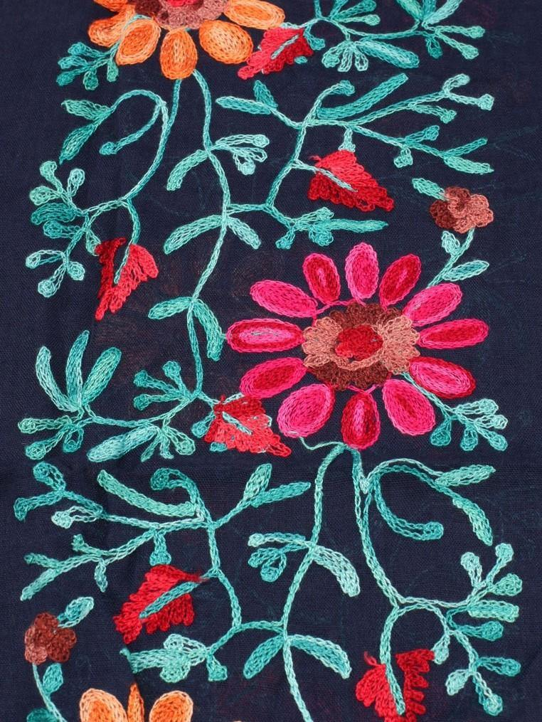 Opulence Evia Embroidered Scarf Blue - pink-n-proper