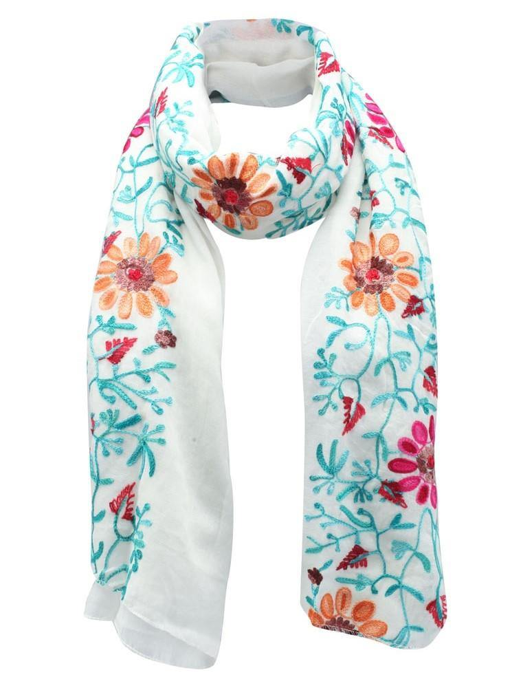 Opulence Evia Embroidered Scarf White - pink-n-proper