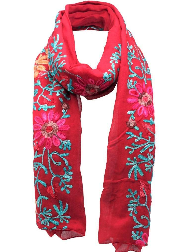 Opulence Evia Embroidered Scarf Red - pink-n-proper