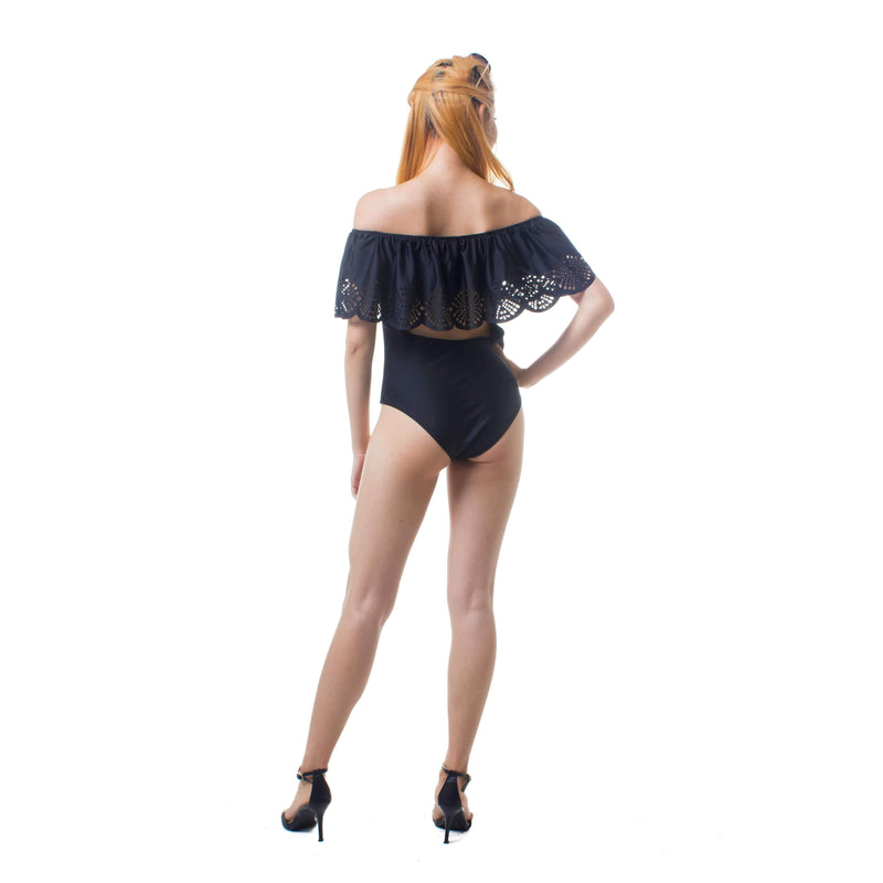 Pink N' Proper:Allegra Bareback Off Shoulder Swimsuit Black