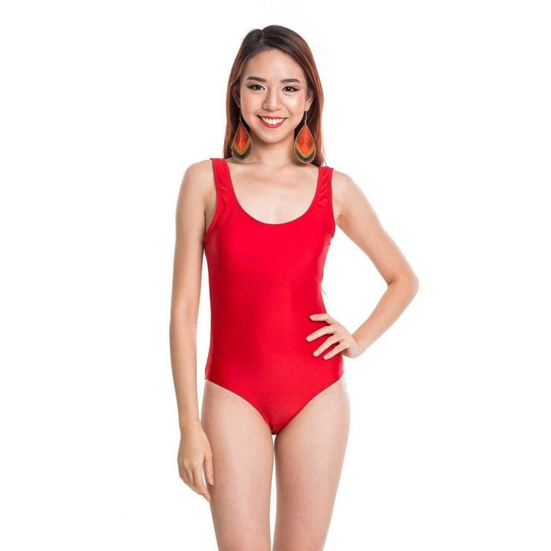 Pink N' Proper:Basic Bareback Swimsuit in Red