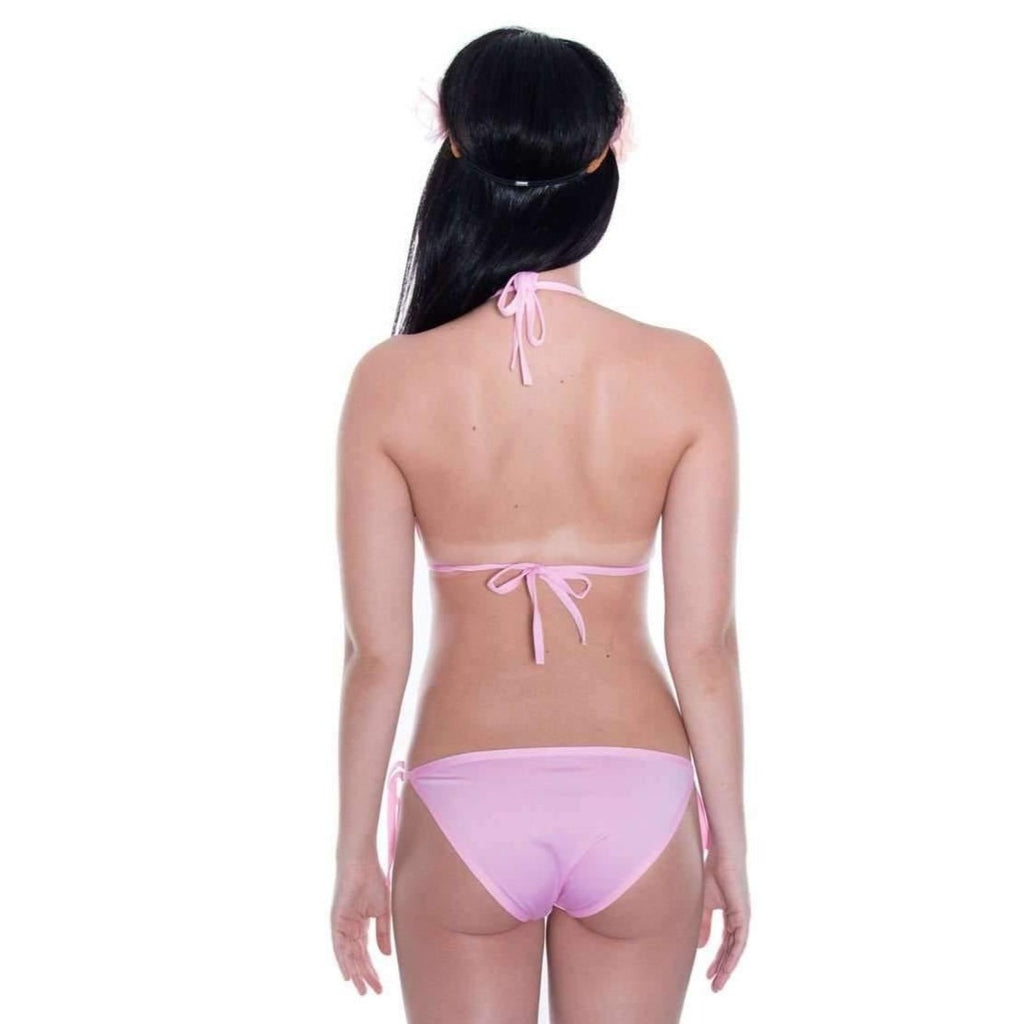 Pink N' Proper:Basic Triangle Bikini Set (Pink)
