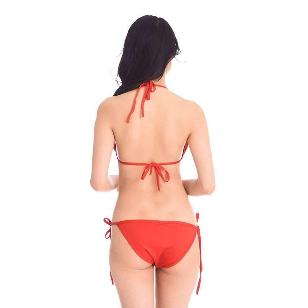 Pink N' Proper:Basic Triangle Bikini Set (Red)