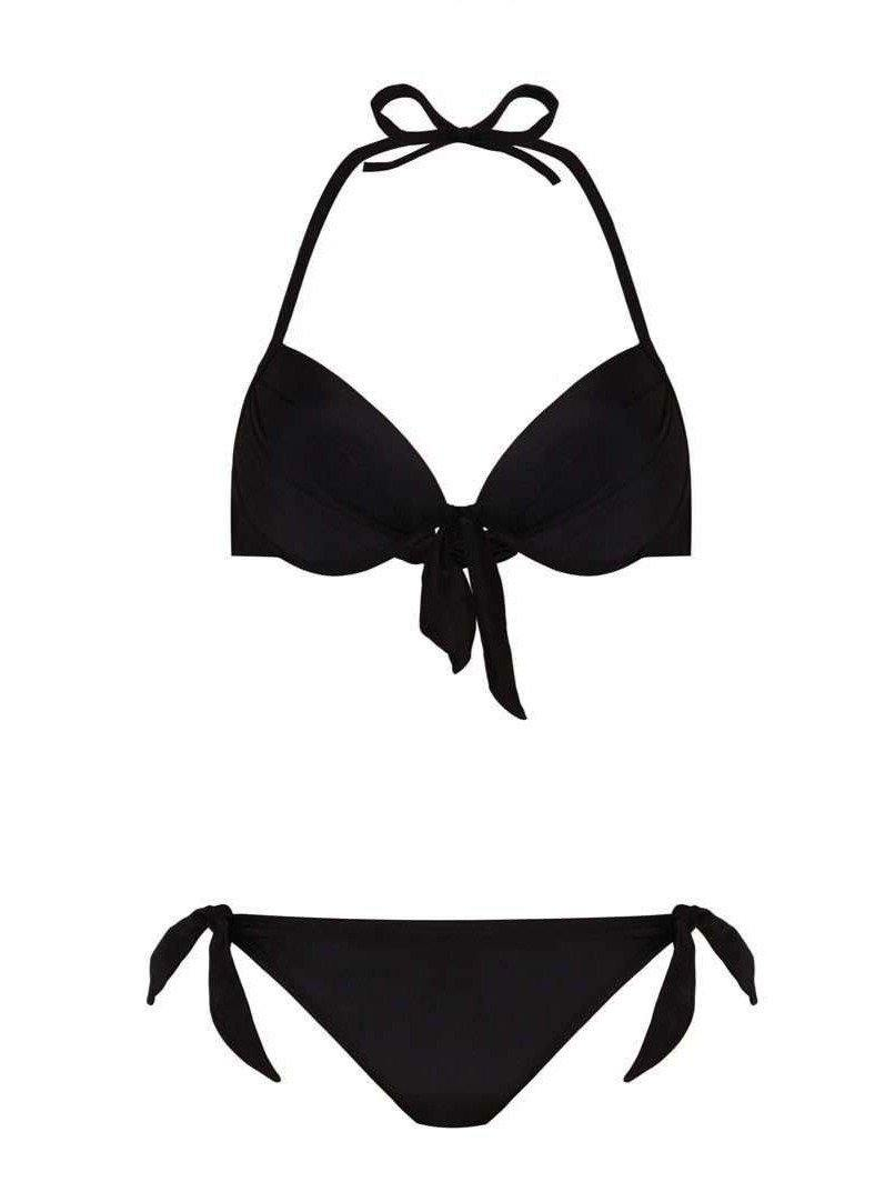 Pink N' Proper:Black Basic Push Up Bikini