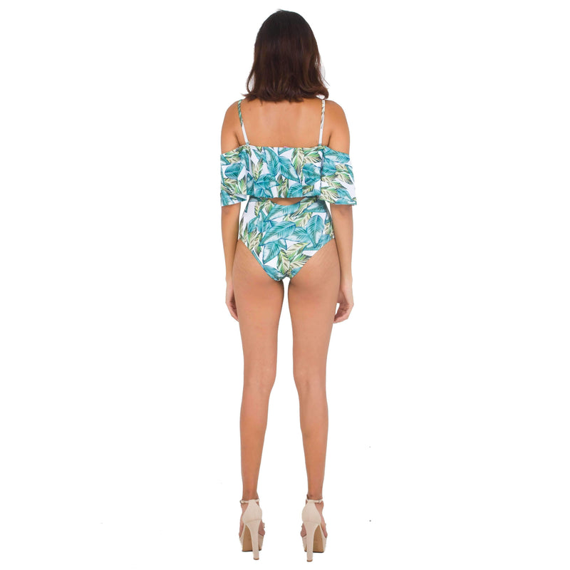 Pink N' Proper:Dakota Bareback Off-Shoulder Swimsuit Green
