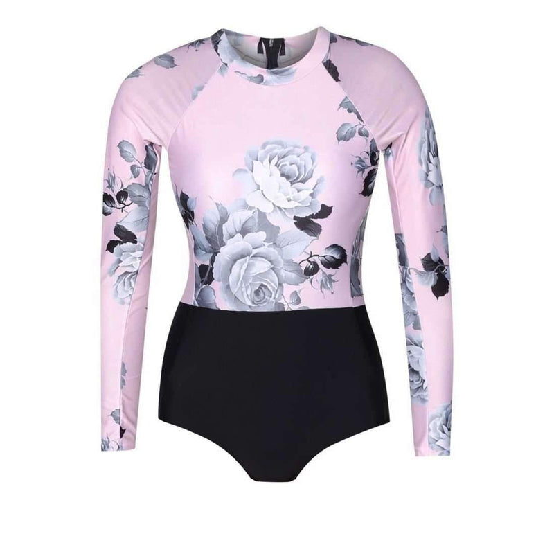 Pink N' Proper:Della Long-Sleeved Swimsuit (Pink)