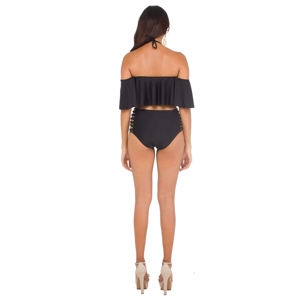 Pink N' Proper:Karlie Off-Shoulder High-Waist Bikini Set in Black