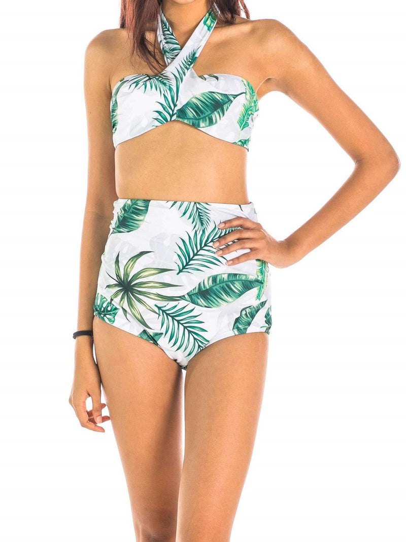 Pink N' Proper:Lucia Tropical Halter High-Waist Bikini Set Green