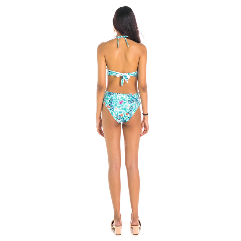 Pink N' Proper:Magdelena Tropical Plunge Reversible Cut-Out Monokini Green