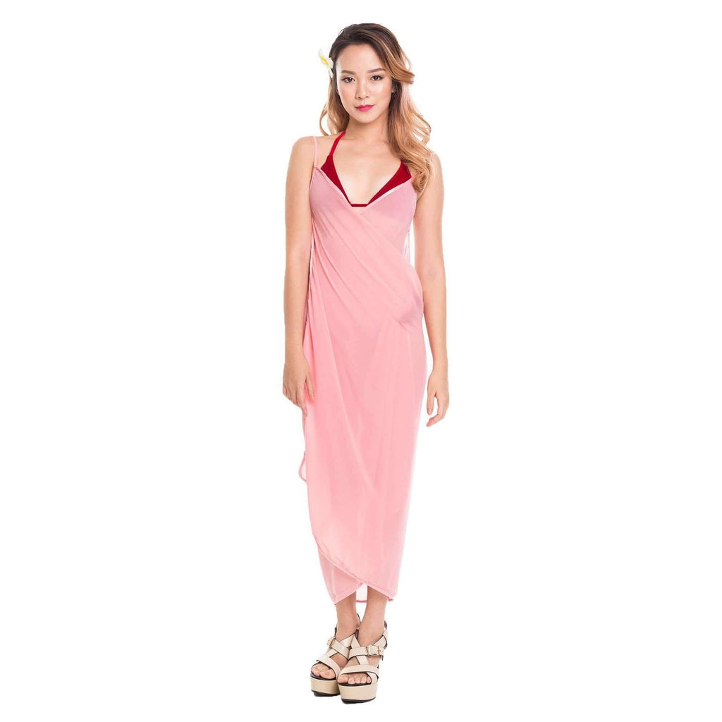 Pink N' Proper:Mira Chiffon Beach Cover Up Dress Peach