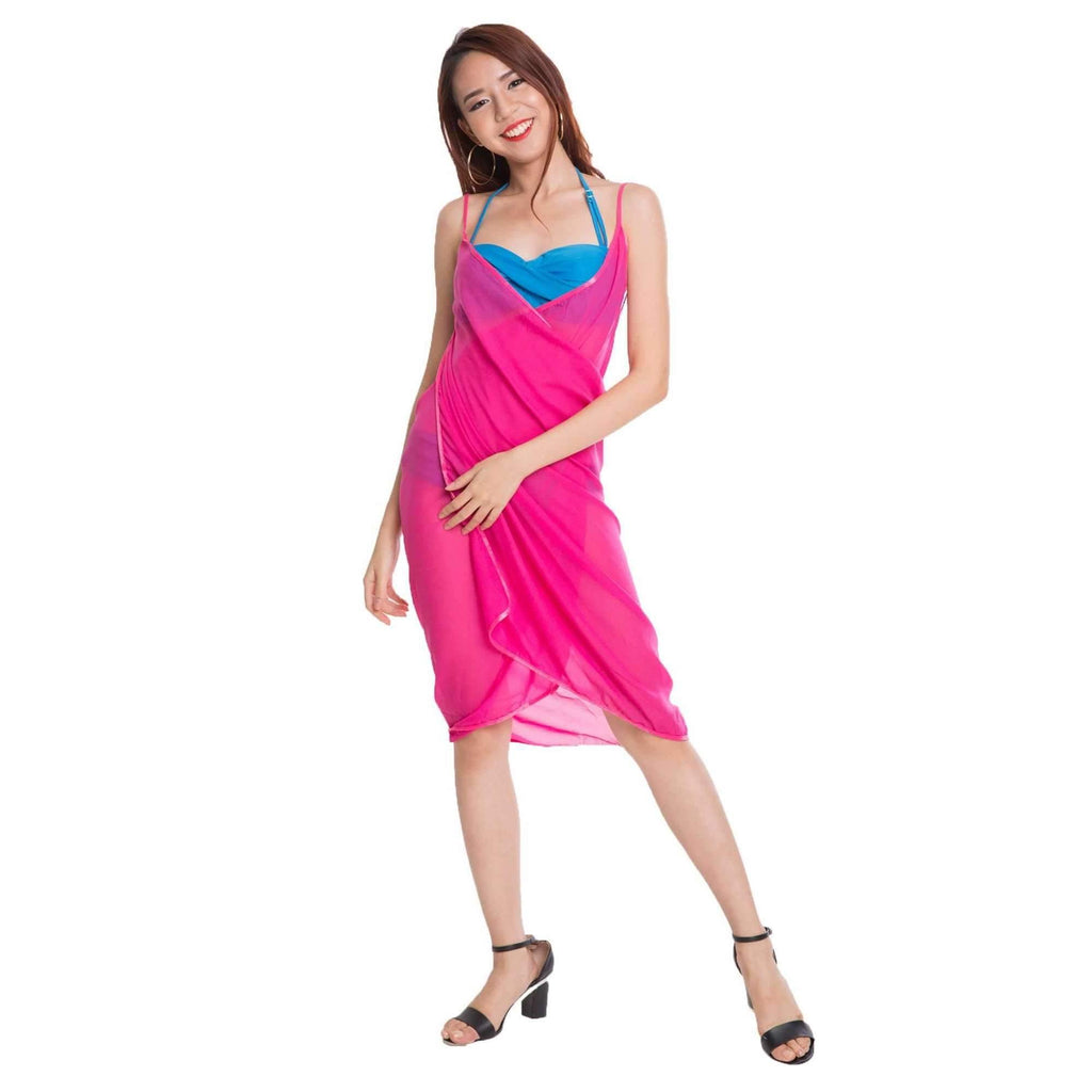 Pink N' Proper:Mira Chiffon Beach Cover Up Dress Rose