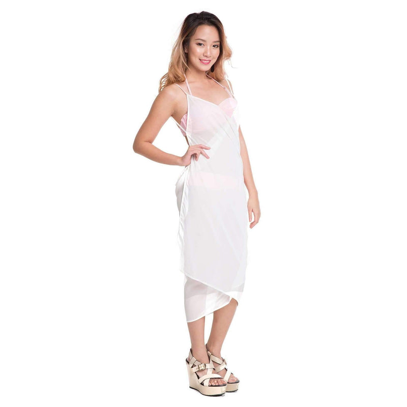 Pink N' Proper:Mira Chiffon Beach Cover Up Dress White