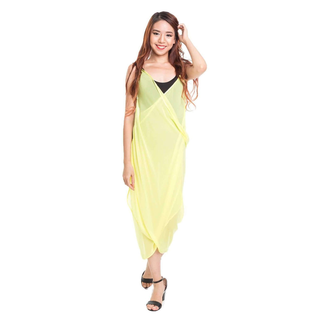 Pink N' Proper:Mira Chiffon Beach Cover Up Dress Yellow